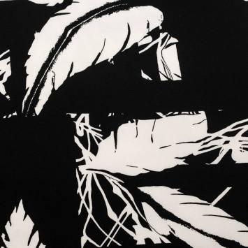 Tissu crêpe noir à motif feuille