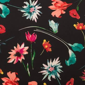 Tissu crêpe motif fleurs