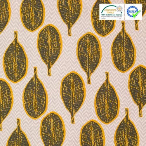 Coton blanc motif arali moutarde