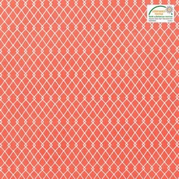 Coton vermillon motif etnia