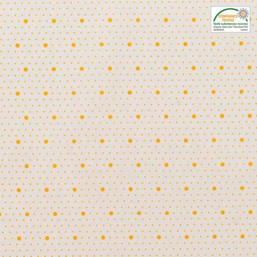 Coton blanc motif saya jaune