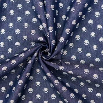 Coton aspect jean motif pois