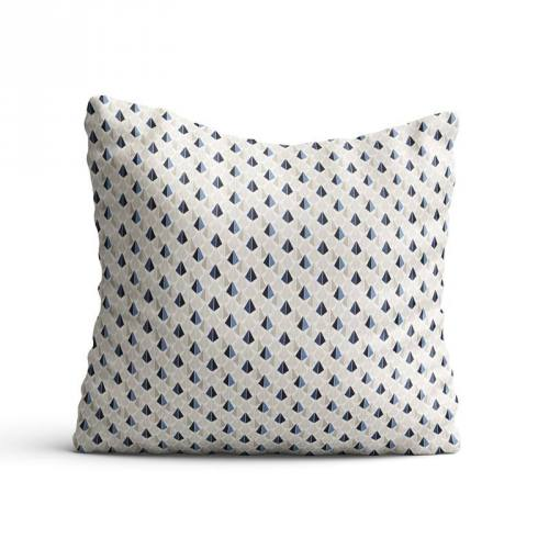Coton blanc motif payani bleu