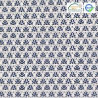Coton blanc motif manco bleu