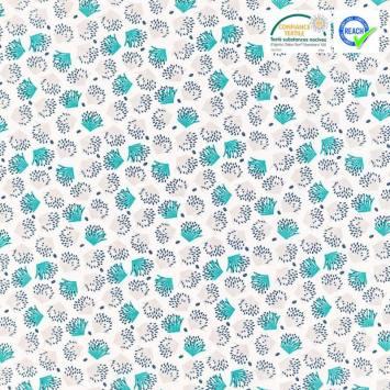 Coton blanc motif galix vert