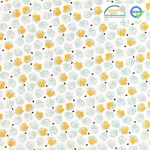 Coton blanc motif galix safran