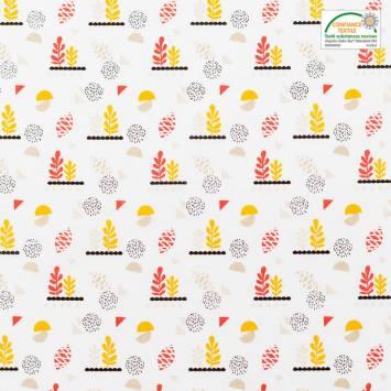 Coton blanc motif lirima jaune