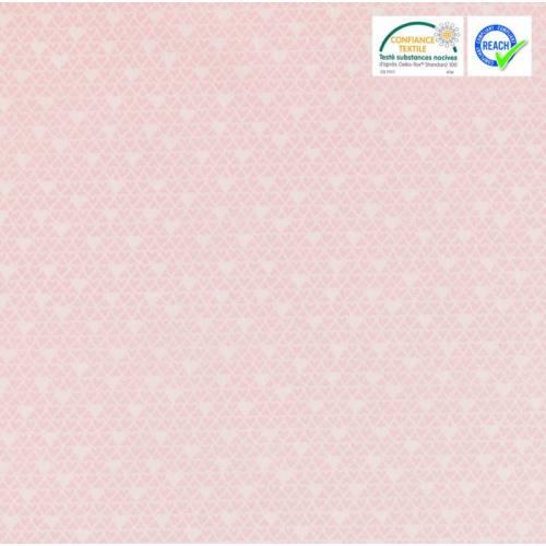 Coton rose motif cuori blanc