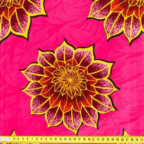 Wax - Tissu africain enduit rose à fleurs 175