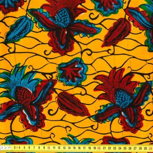 Wax - Tissu africain jaune, rouge et bleu 174