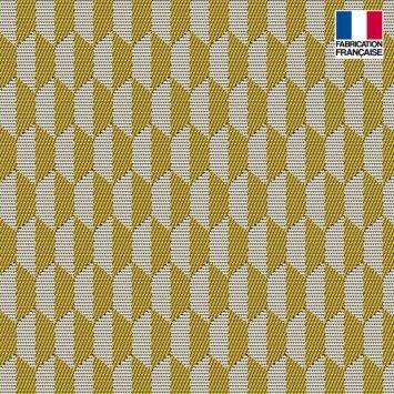 Jacquard jaune motif géométrique