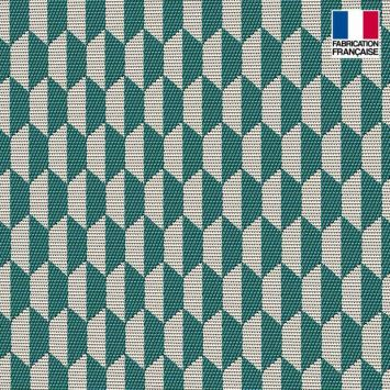Jacquard émeraude motif géométrique