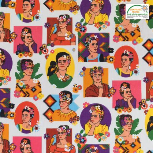 Coton blanc motif Frida Kahlo