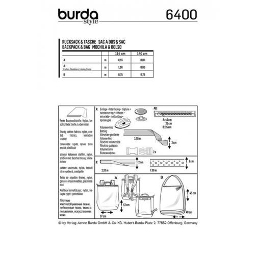 Patron Burda 6400 : Sac à dos et sac