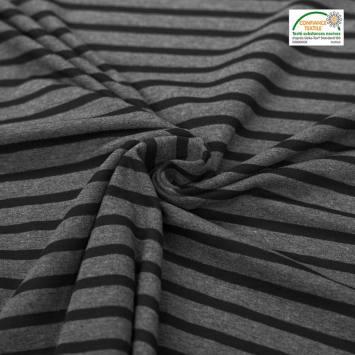 Jersey coton rayé gris et noir