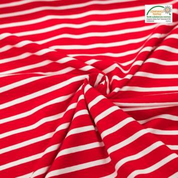 Jersey coton rayé rouge et blanc