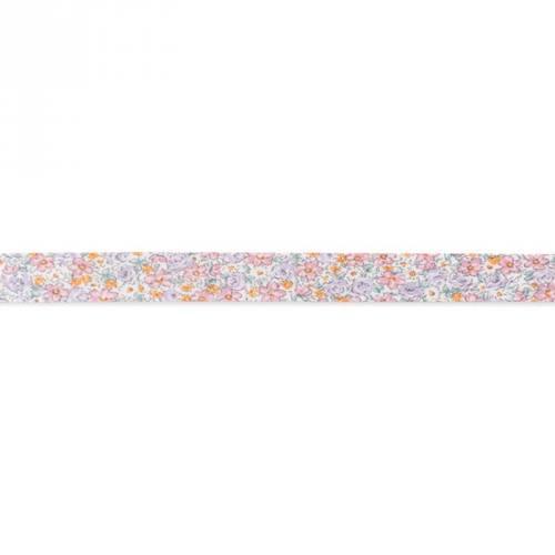 Biais replié à fleurs rose et violet 20mm