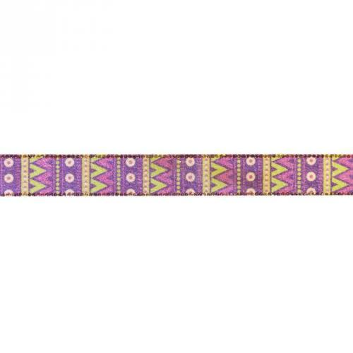 Ruban thermocollant ethnique violet 25mm
