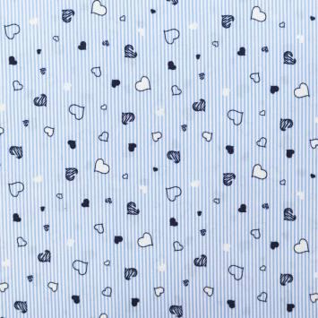 Coton spandex bleu à rayures et coeurs