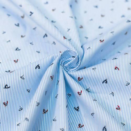 Coton spandex bleu à rayures et oiseaux