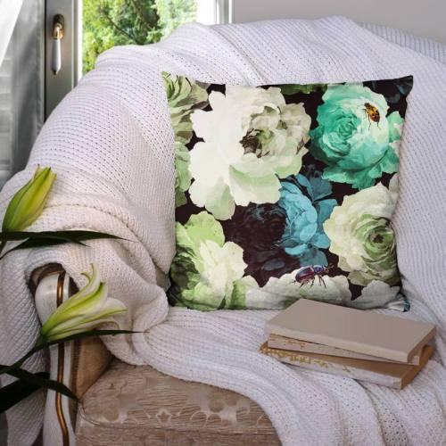 Velours imprimé fleurs vertes diva