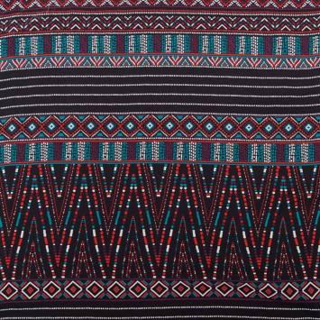 Mousseline noire motif aztèque