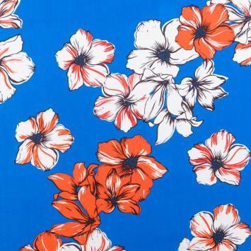 Tissu viscose motif hibiscus bleu