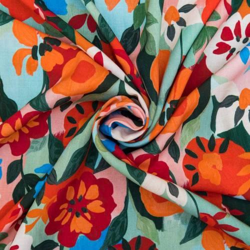 Tissu viscose motif fleurs peintes