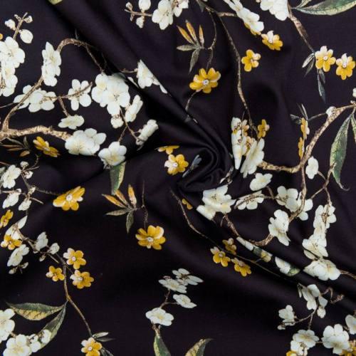 Coton spandex noir motif branche fleurie