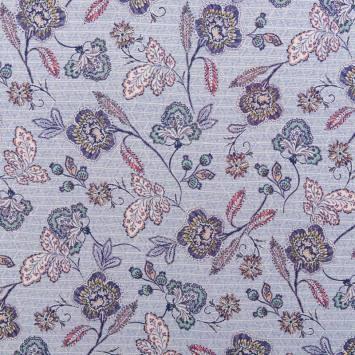 Tissu viscose bleu motif fleurs