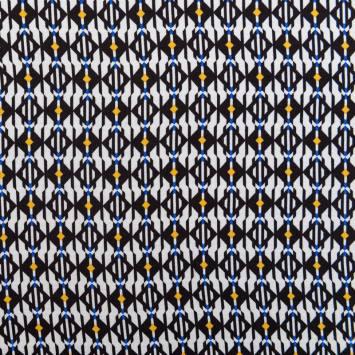 Tissu crêpe viscose blanc cassé motif losange ocre et bleu