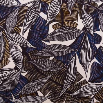 Tissu viscose motif feuilles batik