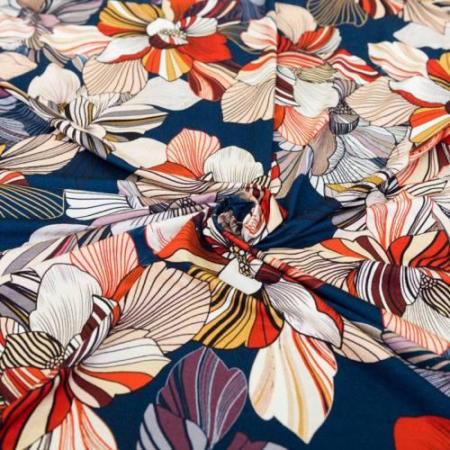 Jersey viscose bleu foncé motif fleur