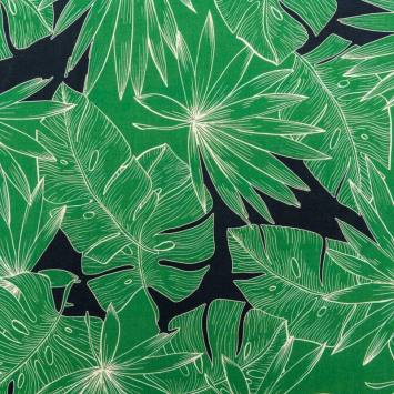 Tissu viscose motif feuilles tropicales