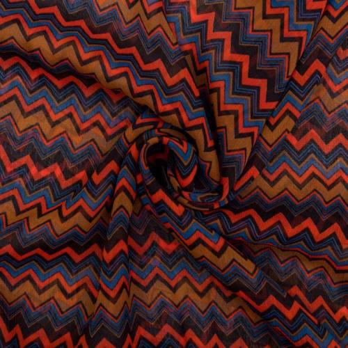 Mousseline de crêpe marron motif chevron