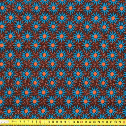 Wax - Tissu africain petites fleurs bleues et oranges 184