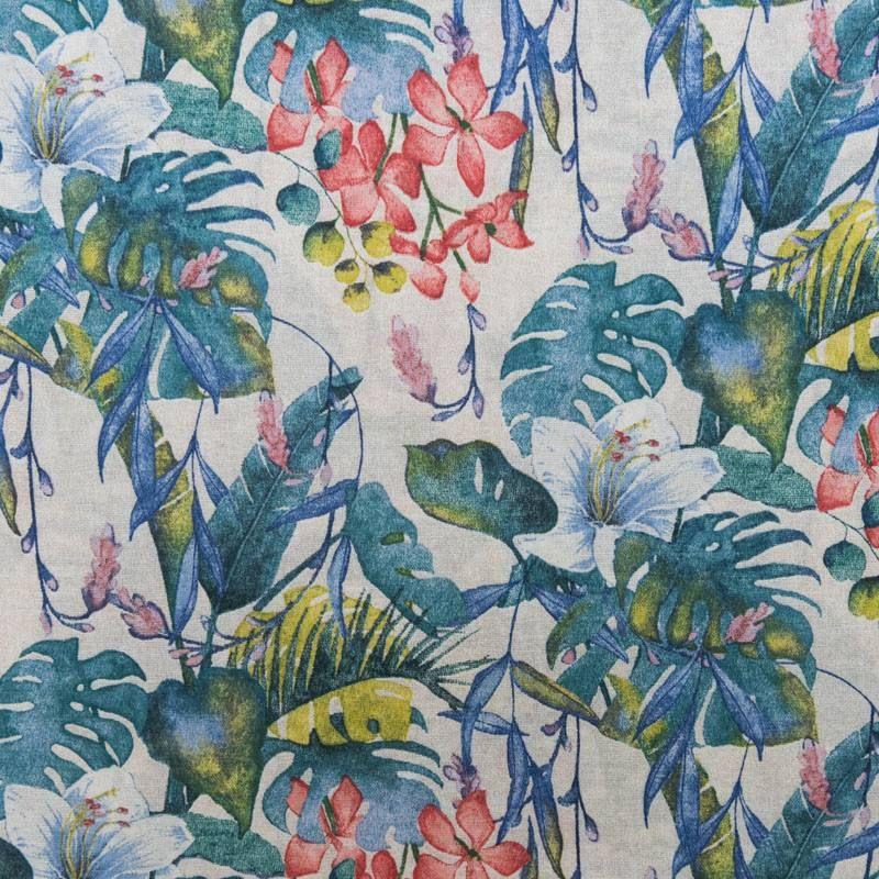 toile polycoton grande largeur motif tahiti. Black Bedroom Furniture Sets. Home Design Ideas