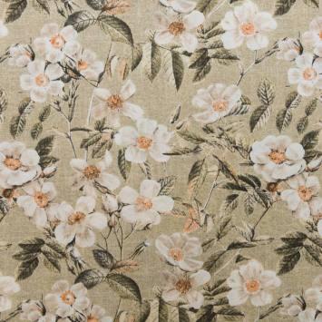 Toile polycoton grande largeur beige motif fleur blanche