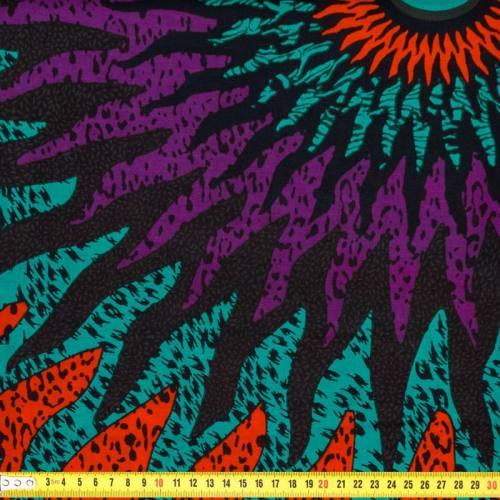 Wax - Tissu africain soleil violet, bleu et orange 189