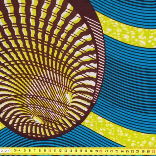 Wax - Tissu africain bleu et vert 196