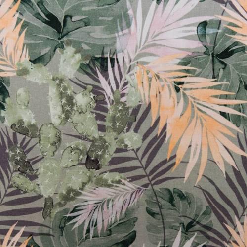 Coton impression numérique motif cactus et feuillage