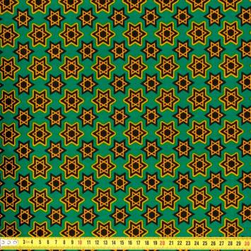 Wax - Tissu africain étoile ocre 190
