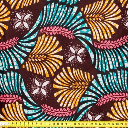 Wax - Tissu africain ocre et bleu 204