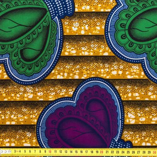 Wax - Tissu africain ocre, bleu et vert 177