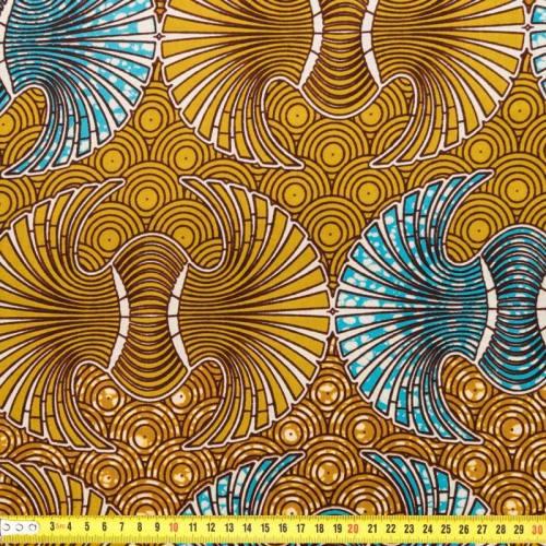 Wax - Tissu africain éventail bleu et ocre 185