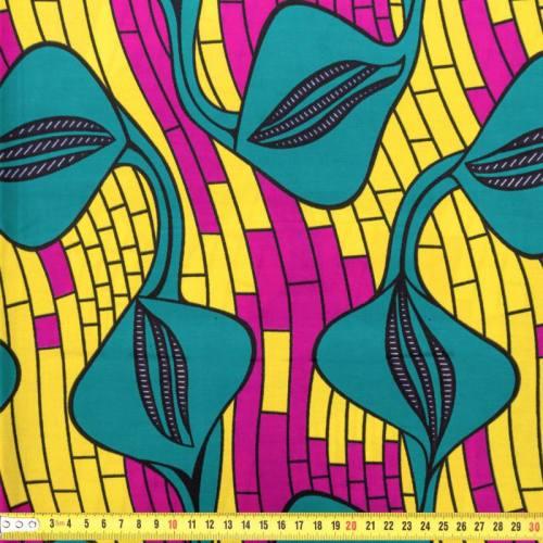 Wax - Tissu africain jaune, vert et violet 186