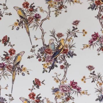 Coton impression numérique blanc motif perruche et fleur