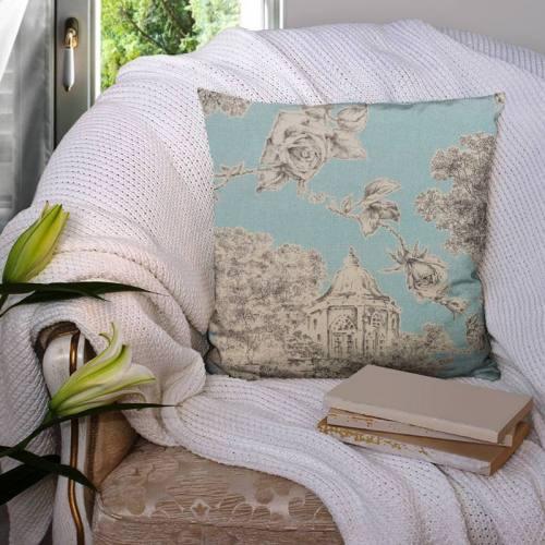 Coton impression numérique aspect lin bleu motif champêtre