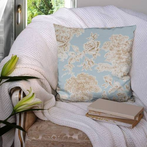 Coton impression numérique bleu motif champêtre