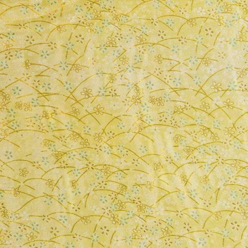 Satin asiatique doré motif fleur verte